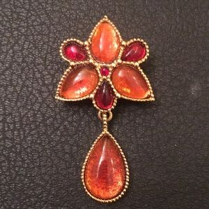 Vintage Juliana Gold Amber Stone Pendent Brooch